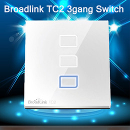 Switch Control Wall Canada - Wholesale-New Remote Control Smart Home Automation Broadlink TC2 3Gang Wireless Wifi Wall Light Glass Panel Touch Screen Smart Switch