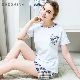 Barato Shorts De Dormir Por Atacado-Atacado- Casual Pijamas Plaid Mulheres Set Cartoon O-Neck Pijamas de manga curta para mulheres Summer Nightwear 2 Piece Indoor Suit / Sleep Suit