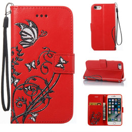 Discount samsung galaxy 6s phone - Strap Butterfly Flower Wallet Case for iPhone 8 I8 7 Plus 6 6S 5 5S SE Samsung Galaxy S8 S7 S6 Edge Card Slot Stand Luxu