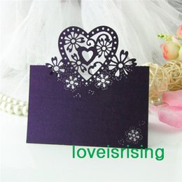 Cartes De Mariage Violet À Coupe Laser Pas Cher-Hot Sale - 50pcs Purple Color Laser Cut Place Cartes de mariage Cartes de mariage pour mariage Décoration de table Party