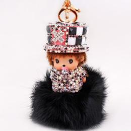 China Kawaii Monchhchi Doll with Hat Fur Fluffy Ball Rhinestone Keychain Car Keyring Women's Kid's Handbag Pendant Charms Best Gift suppliers