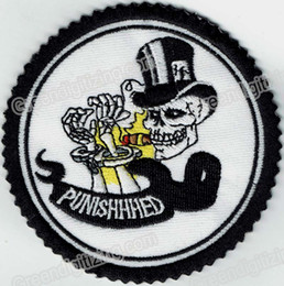 punisher vest 2019 - Personality Skull Punisher Cuff Death Embroidered Patch Motorcycle Biker Iron On Patch for Jacket Vest Rider Patch Free