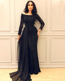 Noir Arabe Pas Cher-Black Arab Mermaid Dresses Tenue de soirée avec manches longues Bateau Neckline Sequined Robes de soiree Floor Length Appliqued Net Formal Dress