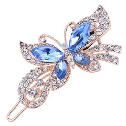 China Fashion Women Crystal Diamond Butterfly Hairpins Hair Clip Barrette Hair Band Accessories 4 Colors free shipping supplier hair accessories diamond butterfly suppliers
