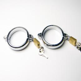 bdsm locking cuffs UK - Newly Alloy Chastity Devices Restraint Sex Slave Wrist Ring with Lock BDSM Hands cuffs Bondage Adult Sex Toy For Couples