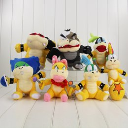 lemmy koopa toys Canada - 7pcs set Super Mario Bros Plush Doll Stuffed Toy Wendy LARRY IGGY Ludwig Roy Morton Lemmy Koopa 15-20cm