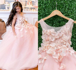 Mariage Rose Princesse Pas Cher-3D floral Appliqued Pink Flower Girl Robes pour les mariages Vintage Long Princesse Boho Little Baby Ball Gowns Communion Pageant Robe