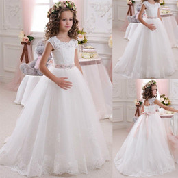 lace flower girl dresses for wedding beaded sash country vintage flowergirl dresses first communion dress princess girls pageant dresses country girl