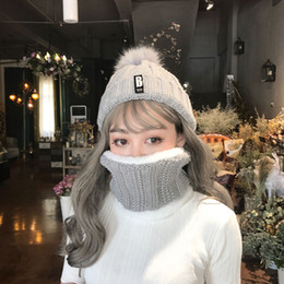 e158900c97ee12 Multicolor optional winter outdoor ladies knit hat plus velvet plus thick  with letters B wool hat ladies warm ear cap hairball knit hat
