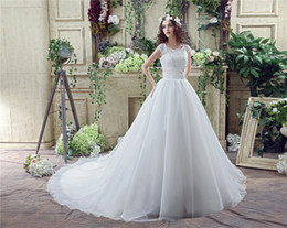 $enCountryForm.capitalKeyWord Canada - 2017 Wedding Dresses With Cap Sleeves Lace Bateau Neck Beaded Wedding Gowns in stock real photo Bridal Gowns cheap