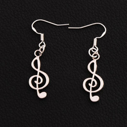 China Treble Cleft Music Note Earrings 925 Silver Fish Ear Hook 30pairs lot Chandelier Dangle E228 42.7x9.8mm cheap treble note suppliers