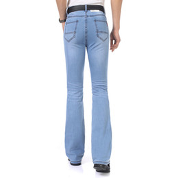 Entreprise Plus Mince Taille Pas Cher-Wholesale- 2016Casual Hommes Bottom Jeans Business Blue Mid Waist Slim Fit Boot Cut Semi-flared Flare Leg Denim Pants Plus Size MB16239