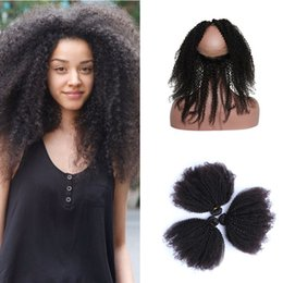 kinky curly weaving hair Canada - Brazilian Afro Kinky Curly Virgin Hair 360 Lace Frontal With Bundles Ear to Ear Full Frontal Lace Band Closure With Human Hair Weave