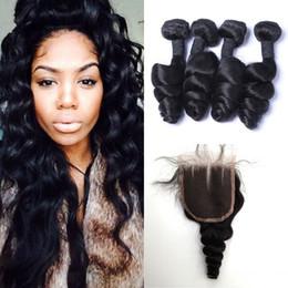 Peerless virgin hair online shopping - Peerless Peruvian Virgin Hair With Closure Natural Black Unprocessed Peruvian Loose Wave Lace Closure With Bundles G EASY