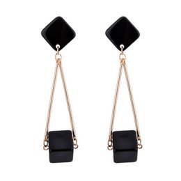 Dangling Square Earrings Canada - Women's Evening Party Black Square Pierced Dangle Earrings Europe & America exaggerated metal geometric lady drop earrings wholesale