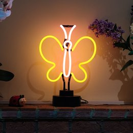 New Contracted Butterfly Handicrafted Real Glass Tube Neon Table Light Beer  Lager Bar Pub Table Sign Neon Light Sculpture Table Lamp