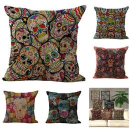 plain beds 2019 - Hallowmas Sugar Skull Pillow Case Halloween Party Cushion cover Linen Cotton Throw Pillowcases Sofa Bed Pillow Covers ch