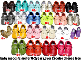 Babies Leather Booties Canada - No Lead ! 22colors Baby moccasins soft sole moccs genuine leather prewalker booties toddlers baby infants fringe cow leather moccasins shoes