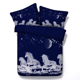 $enCountryForm.capitalKeyWord UK - Fashion 3D Printed Moon White Unicorn Bedding Sets Twin Full Queen King Size Bedspreads Dovet Cover Sets Pillow Shams Comforter Horse Animal