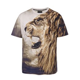 Wholesale 3d printed sweat shirt online – oversize Large Size Mens T Shirts Male Brand T Shirts Tops Tees Short Sleeve Breathable Sweat Coats Summer Clothing Lion Printing D