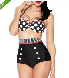 $enCountryForm.capitalKeyWord Australia - Vintage High Waist Polka Dot Bikini Set Cutest Retro Swimsuit Pin Up Swimwear S M L XL
