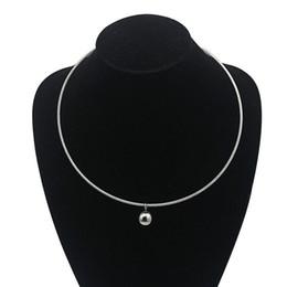 $enCountryForm.capitalKeyWord Australia - European style simple round ball pendant Torques women ladies metal silver wire necklace collar choker statement stainless steel