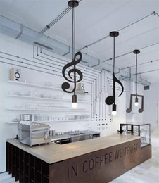 $enCountryForm.capitalKeyWord Australia - L33-Creative Melody Black E27 Led Pendant Lamp Music Note Iron Hanging Lamp for Restaurant Pub Clothing Store Club Pendant Light