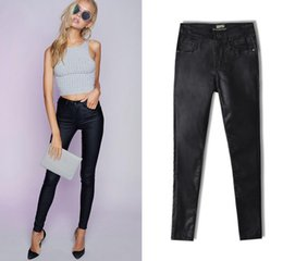 Barato Jeans Feminino Com Bolso Com Zíper-2017 Outono Mulheres Skinny Ankle Jeans Slick Coating Leather Like Effort Five Pocket Styling Zipper Fly Button Closure Moda Black Jeans