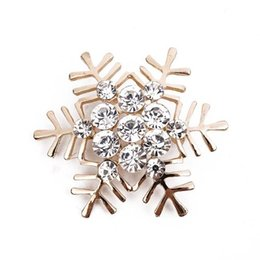 korean brooches NZ - Upscale Korean Style Alloy Crystal Rhinestone Christmas Snowflake Gold Silver Brooch Corsage Christmas Gift Free Shipping