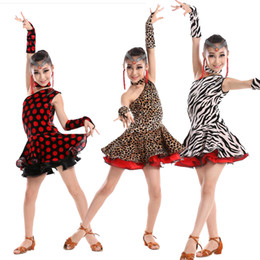 Robe Léopard En Latin Pas Cher-Leopard pattern Sexy Children Latin Salsa Robe de danse Rumba Stage Costume Girls Latin Ballroom Competition Dancing Stage Wear Dress