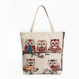 Owl Ladies Handbag Australia - Women Canvas Beach Bag Single Shopping Bag Canvas Shoulder Bag Lady Large Capacity Casual Tote Bags Women Owl Printed Canvas Handbag Female