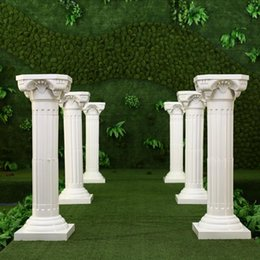89cm height white plastic roman column with decorative flower and flower pot for wedding mall opened props
