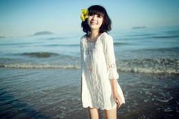 $enCountryForm.capitalKeyWord Australia - Girl's Middle Sleeve Square Collar Lace Tops Girls Princess Dress Little Women's Slim Mini Casual Lace Dress White XS
