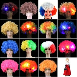 Enfants De Costume De Noël Pas Cher-Coloré Clown Cosplay ondulé LED Light up perruque de cheveux clignotant Funny Fans Carnaval Décorations de fête enfants adulte Xmas Noël Costume ZA1511