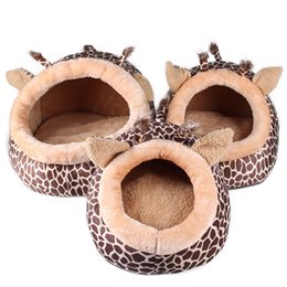 outdoor cat housing Canada - Soft Warm Dog House Leopard Pet Sleeping Bag House for Small Medium Dog Cats Pet Supplies S M L Cat Products