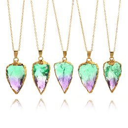 amethyst pendant heart 2019 - 2017 new Natural Stone Healing Point Chakra Gemstone Gold Plated Triangle arrow Pendant Necklaces Agate Amethyst Colorfu