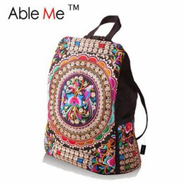 Embroidery Ethnic Backpack Women Canada - AbleMe 2017 Ethnic Embroidery  Shoulder Handbags Canvas Backpack Women Travel 66452fb5f48