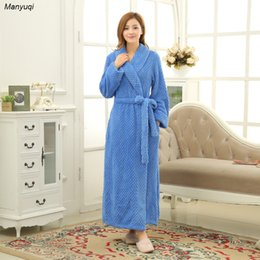 ecc587b7b7 Wholesale- Womens Winter Solid Coral Fleece Homewear long robes sleepwear  Dressing gowns for women Terry bathrobe