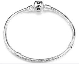 23cm Silver Bracelets Australia - love logo chain bracelet,17-23cm silver plated bracelet,lobster chain plated bracelet