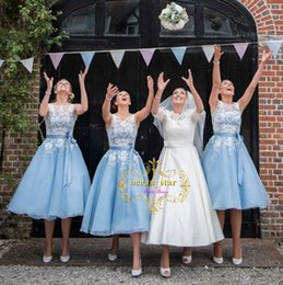 $enCountryForm.capitalKeyWord Canada - Real Photo Short Bridesmaid Dresses 2017 Baby Blue Bridesmaid Gowns Tea-Length A-Line White Lace Wedding Party Gowns