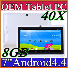 7 Wifi Tablet Australia - 40X 7 inch A33 Quad Core Tablet Allwinner Android 4.4 KitKat Capacitive 1.5GHz 512MB RAM 8GB ROM WIFI Dual Camera Flashlight Q88 MQ50 A-7PB