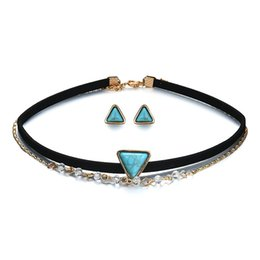 Vintage Multilayer Necklace Canada - New arrival turquoise necklaces earrings vintage multilayer choker triangle turquoise statement necklace earring stud chokers jewelry set