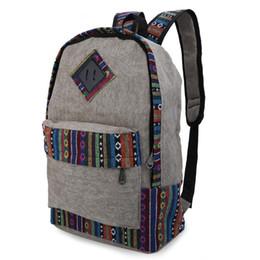 $enCountryForm.capitalKeyWord UK - Wholesale- Durable Ethnic Canvas Zipper Bag Girl Casual Floral Print Color Block Women Canvas Backpack for Travel School Laptop
