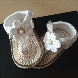 Baby Shoes Yarn Australia - Baby girl crochet shoes flower white dress Mary jane shoes cotton yarn 0-12M