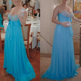 Empire Sweetheart Sash Pas Cher-Sexy Sky Blue Prom Dresses A Line Sweetheart Longueur de plancher perlée avec Bow Sash Evening Party Gowns