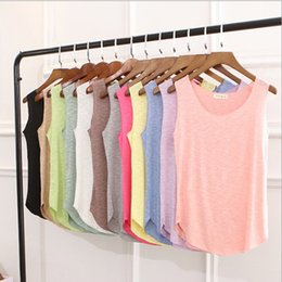 Single Pour Dames Pas Cher-10pcs Mixed Color Summer New Tank Tops Femmes sans manches Round Neck T-shirt en vrac Ladies Vest Singts