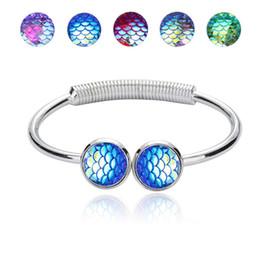 $enCountryForm.capitalKeyWord NZ - Fashion Drusy Druzy Bracelet Silver Gold Plated Resin Mermaid Fish Scale Bracelets Bangle For Women Lady Jewelry NB152