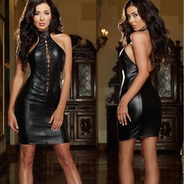 sexy black leather short dress Canada - 2017 New Summer Black Mesh Sleeveless Min Short Clubwear Dresses Sexy Hot Night Vinyl PU Leather Sheath Bodycon Party Vestido