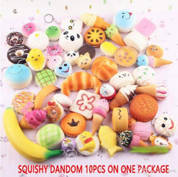 Discount phone strap squishy - 10pcs lot squishies toy Slow Rising Squishy Rainbow sweetmeats ice cream cake bread Strawberry Bread Charm Phone Straps