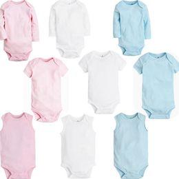 49d23dc9b Algodão orgânico Roupas de Bebê Verão Primavera   Outono Sólidos O Pescoço  Criança Bodysuit Roupas de Bebê 9 estilos para 3 M-24 M